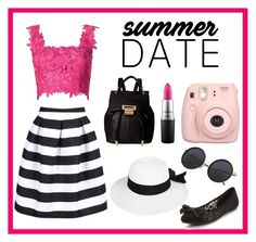 """""""Summer Date"""" by lucysefco on Polyvore featuring Monique Lhuillier, WithChic, Ivanka Trump, Boohoo and MAC Cosmetics"""