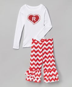 White Initial Tee & Red Ruffle Pants - Infant, Toddler & Girls #zulily #zulilyfinds