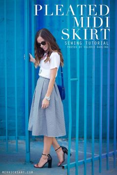 Quality Sewing Tutorials: Pleated Midi Skirt tutorial from Merrick's Art Sewing Patterns Free, Free Sewing, Sewing Tutorials, Clothing Patterns, Dress Patterns, Dress Tutorials, Pattern Sewing, Coat Patterns, Pattern Drafting