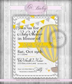 Printable Party Invitation - Hot Air Balloon / Yellow and Gray