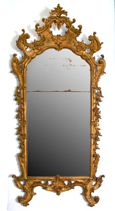 5e7ab731e8e06 Carved and gilded wood mirror with original gilding and glass