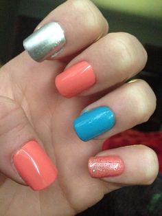 Nails pink blue chrome sparkles