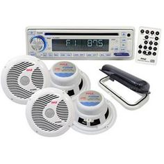 PYLE PLCD8MRKT Complete Marine Water Proof 4 Speaker CD/USB/Mp3/Combo w/ Stereo Cover (White)