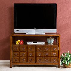 """Apothecary Double Door TV Stand from JC Penney, $500. Alas, this is only """"wishful thinking furniture;"""" Christa loves it, even though the card catalogue doors are fake (there are but two measly doors)."""
