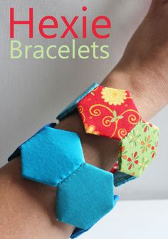 Fabric bracelet stitched out of hexagons