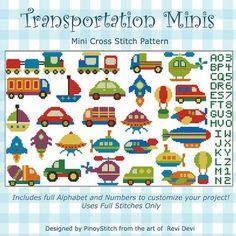 Transportation Minis Collection Cross Stitch PDF by PinoyStitch, $7.50