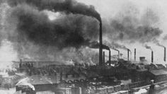 Photograph of Widnes, England in the late 19th century showing the effects of industrial pollution. Unknown author, taken from A History of the Chemical Industry in Widnes, by D. W. F. Hardie, Imperial Chemical Industries Limited, 1950.