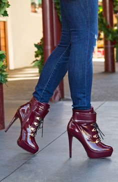 Love this wine red shiny bootie!