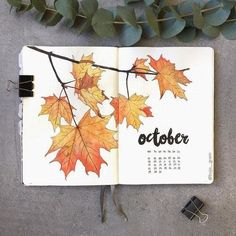 15 Cozy Bullet Journal Layouts Perfect For Fall - Bullet Planner Ideas - - Bullet journal layout and spread ideas that will get you in the mood for Fall. All the bright color and cozy inspiration you ever dreamed for! Bullet Journal Notebook, Bullet Journal Aesthetic, Bullet Journal School, Bullet Journal Themes, Bullet Journal Inspiration, Bullet Journal Spread, Bullet Journals, Bullet Journal Months, Bullet Journal October Theme