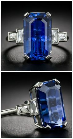 A glorious 8.77 carat sapphire and French-cut baguette diamond ring.