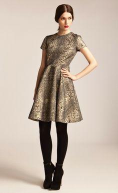 Venice Flared Dress | Designer Snakeskin Dress | Temperley London
