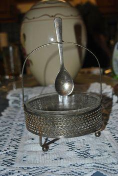 Vintage Sugar Bowl With Spoon-Glass Center-Victorian Style by GinasCornerCrafts, $20.00  http://www.etsy.com/shop/Ginascornercrafts
