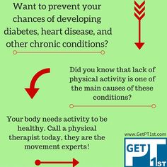 In order to be physically active, it helps if your body is in working order & pain free. Call the movement experts if you need help with this. Heart Disease, Did You Know, Diabetes, Knowing You, Physics, Activities, Free, Cardiovascular Disease, Diabetic Living