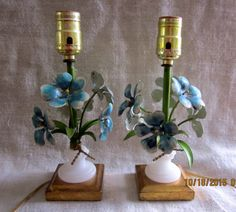 Stunning Pair of Italian Tole Boudoir Lamps by angelinabella