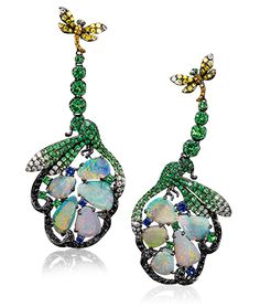 Cellini Jewelers,  Wendy Yue Dragonfly Earrings  Wendy Yue established her atelier in 1998 and has since become one of the most renowned Hong Kong jewlery designers for creating unique pieces representing the magic of nature.  These one of a kind earrings showcase cabochon opals surrounded by tsavorites, fancy colored diamonds and blue sapphires, in a hand made 18-karat blackened gold setting.