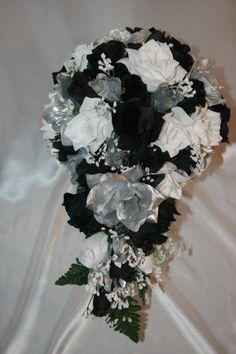 Black white silver roses bridal bouquet bridesmaid silk wedding bridal bouquet black silver silk flower wedding silk flowers mightylinksfo
