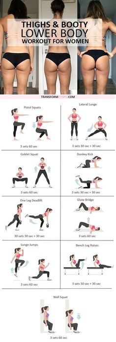Thighs and Booty workout fitness routine Fitness Workouts, Fitness Motivation, Sport Fitness, Body Fitness, Fitness Diet, At Home Workouts, Health Fitness, Workout Exercises, Full Body Workouts
