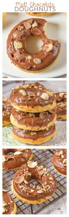 My Malt Chocolate Doughnuts are filled with malt powder, topped with a silky milk chocolate glaze and topped with crushed Maltesers. Baked and not fried, you can enjoy these with your afternoon coffee (Milk Chocolate Glaze) Chocolate Malt, Chocolate Glaze, Chocolate Recipes, Chocolate Heaven, Chocolate Donuts, Yummy Treats, Delicious Desserts, Sweet Treats, Dessert Recipes