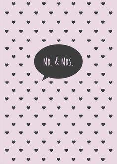 Postkarte Hochzeit -  MR & MRS