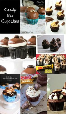 Candy Bar Cupcakes - a delicious collection of cupcakes made with candy bars. A fun way to use up the leftover Halloween candy.