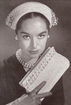 Vintage Crochet PATTERN Hat Evening Bag Clutch 1950s Torreador $8.99