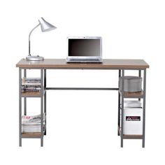 Laminated Particle Board Laptop Desk with 4-Shelf in Natural-Z1510342 - The Home Depot