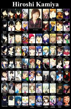 Hiroshi Kamiya ~~~ Brilliant seiyuu. Hibiki from devil survivor 2, Izaya from durarara, souma from working, akashi from kuroko, otanashi from angel beats, natsume from natsume yuujinchou, gareki from Karneval, Levi from AOT, yato from noragami, art from hamatora and so many more!!