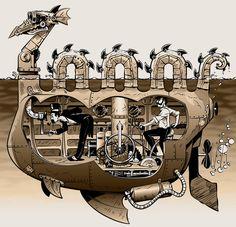 Submarine by Derek Ring, abnormalbrain on deviantART | via thosestempunkclouds | Whimsical!