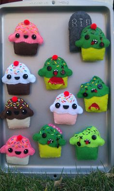 Your place to buy and sell all things handmade Halloween Costumes For Kids, Halloween Treats, Zombie Cupcakes, Easy Crafts, Arts And Crafts, Felt Crafts Patterns, Zombie Party, Angel Crafts, Embroidery Stitches