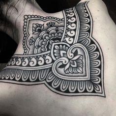 an ornamental tattoo artist, Jack Peppiette was Continue Reading and for more tattoo design → View Website Backpiece Tattoo, Nape Tattoo, Tattoo Hals, Chest Tattoo, Tattoo Ink, Piercings, Body Art Tattoos, Sleeve Tattoos, Fish Tattoos