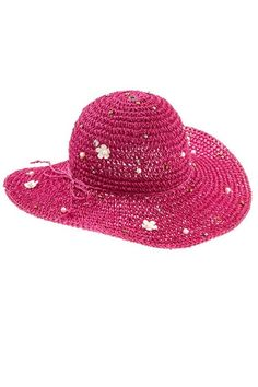 Womens Multi-Color Gem Studded Ivory Pearl Accent Wide Brim Beach Sun Hat - Pink  Style No: FGN-A_134445 This fun wide brim floppy hat has a 4 1/2