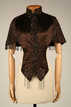 Beaded brown silk satin cape, American, 1880-85.