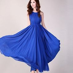 Women's Solid Color Sleeveless Chiffon Maxi Dress with Belt