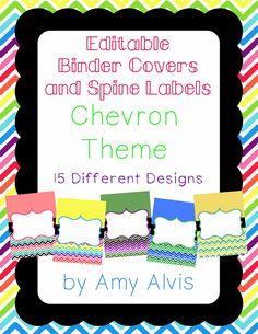 Editable Binder Covers - Chevron, $