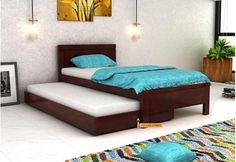 Shop Cristiano Trundle Bed Online in fantastic Mahogany Finish. This trundle bed is a space efficient bedstead and also looks beautiful. The solid wood trundle beds at Wooden Street are really amazing and proves to be durable option. Therefore, buy trundle bed online in #Delhi #Mumbai #Goa #Bhopal