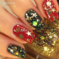 """By @polishedjess """"This is """"Tinsel"""" from @lavishpolish's new Christmas collection. ⭐️ """"Tinsel"""" is a clear-based glitter topper exploding with holographic gold glitter in a variety of shapes and sizes including hexes, micro, squares, circles, and stars! ⭐️ This is one dabbed coat over """"Alluring"""" and """"Debonair"""" from @lavishpolish's Fall and Winter Basics Collection topped with Gem Glam Top Coat by @mydreampolish. I am dead ..."""