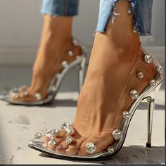 2020 New And Fashional Woman Sandals Transparent Studded Thin Heels – Mensootd High Heels Stilettos, Stiletto Heels, Nike High Heels, Cool High Heels, Pointed Toe Heels, Pump Shoes, Shoes Heels, Transparent Heels, Clear Heels