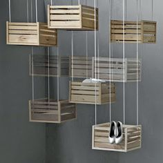 Hanging boxes for attractive storage.