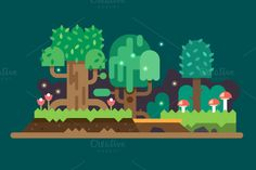 Magic forest landscape by TastyVector on @creativemarket