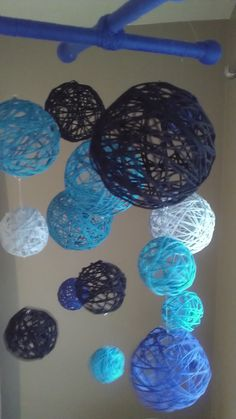 Blue Yarn & Fabric Ball Baby Mobile