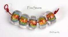 Handmade Lampwork Beads - BluDragonfly SRA - FireStorm - Glass Dichroic Beads on Etsy, $24.00