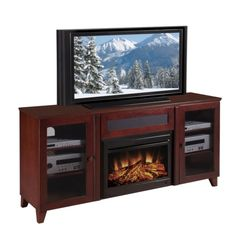 Set includes: Console, electric fireplace Materials: Cherry wood, glass, metal Finish: Dark cherry Glass: Smoked, tempered Two wood framed smoked tempered glass doors Four adjustable shelves Center ch