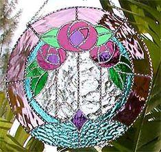 """Stained Glass Pink Floral Art Nouveau Decorative Suncatcher Design - 10"""" x 10"""" - $46.95"""