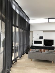 Urban Range Curtains - Floor to ceiling black sheers,Urban Range Curtains - Floor to ceiling black sheers Curtain monitor or curtain rod? The most frequent kinds of fastening for curtains are rods and ra. Floor To Ceiling Curtains, Home Curtains, Curtains Living, Modern Curtains, Curtains With Blinds, Modern Blinds, Living Room Modern, Home Living Room, Living Room Designs