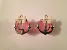 5/8 pink glitter plug anchor with bow Rockabilly Psychobilly Pinup Scene fashion earrings 5/8 on Etsy, $20.00