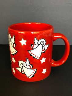 Vintage Waechtersbach West Germany Red Christmas Mug White Cat Green Bow Tie