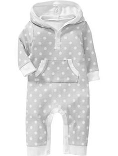 $9.99 Printed Hooded One-Pieces for Baby. SIze 12-18M in Blue Stripe, Neutral Camel or Grey Stripe