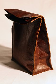 Soft brown leather lunch bag style clutch
