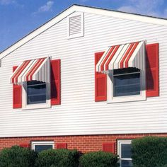 ranch exterior window awnings at DuckDuckGo Aluminum Window Awnings, Metal Door Awning, Metal Awnings For Windows, Outdoor Awnings, Ranch Exterior, Home Improvement Contractors, Vintage House Plans, Brick Ranch, Paint Colors For Home