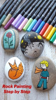 Rock Painting Patterns, Rock Painting Ideas Easy, Rock Painting Designs, Paint Designs, Stone Art Painting, Pebble Painting, Pebble Art, Stone Crafts, Rock Crafts